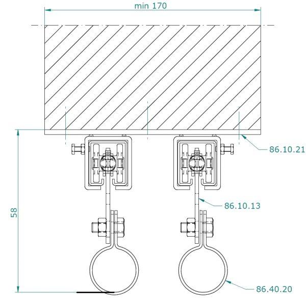 Verschuifbaar ophangsysteem met rails voor lamellen