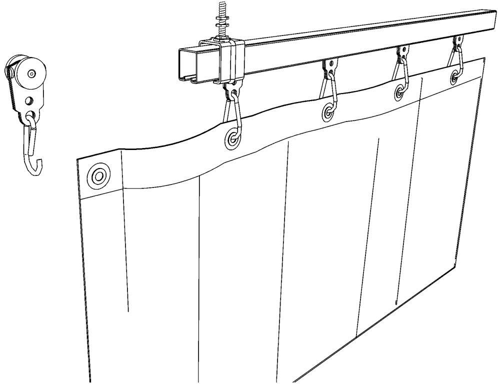 verschuifbaar ophangsysteem met rails voor gordijnen